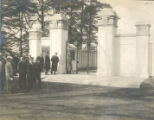 Herbert L. Pratt getting ready to unlock the gate at the opening ceremony of Pratt Field (1910)