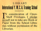 Library Pledge Sign, 1898?