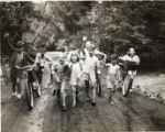 Children biking and walking at Camp Massasoit