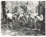 Campers raking path at Freshman Camp (1953)
