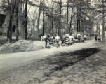 Building a sidewalk in front of Judd Gymnasium, ca. 1921