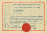 James Huff McCurdy certificate for the 1931 World Conferences of YMCAs