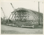 The removal of beams from the Memorial Field House at the Sampson Naval Training Facility