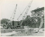 First Truss of the Memorial Field House at Springfield College going up, 1947