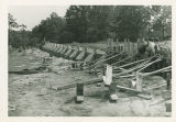 The construction of the foundation of the Memorial Field House at Springfield College, 1947