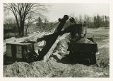 Excavation for the foundation of the Memorial Field House at Springfield College, 1947