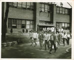 Students Walking out of the Memorial Field House in June, 1949