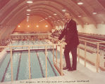 Art Linkletter on the diving platform of the Art Linkletter Natatorium