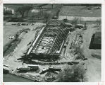 Aerial view of the Linkletter Natatorium construction site, 1966