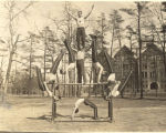 Springfield College Gymnasts in front of Administration Building