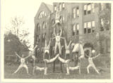 Springfield College Men's Gymnasts in Unique Pyramid