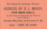 Ticket for Dwight Moody Address, May 31, 1885