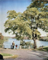 Colored photograph of father and son looking at Lake Massasoit